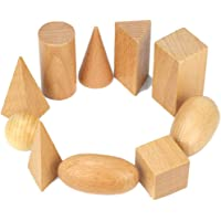 Pintrey Wooden Geometric Solids, 3D Shapes Montessori Learning Education Math Toys