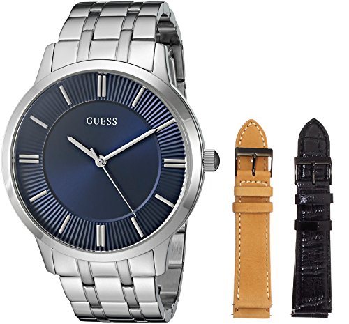 GUESS Men's U0726G2 Men's Classic Interchangeable Wardrobe Watch Set with Blue Dial