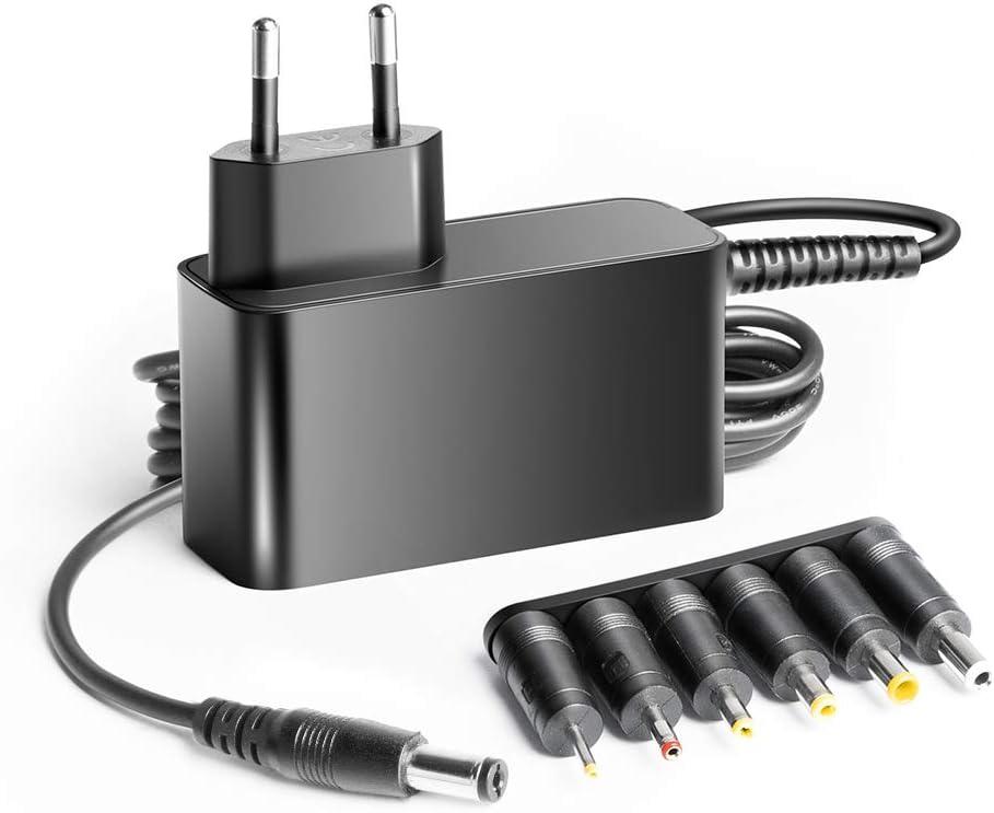 KFD Cargador Universal 12V 3A 2A Adaptador para Chuwi LincPlus, Medion Akoya S2218, Tira de LED, Altavoz, Router, PRIXTON Flex Pro, Thomson NEOX 13,3, CHUWI HeroBook 14.1', Cámara, LCD TFT Monitor