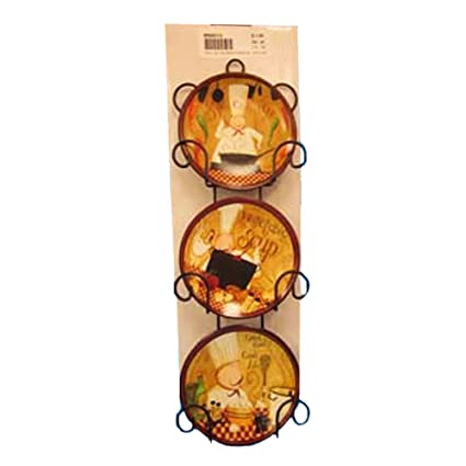 Chef Plate Hangers for the Wall Decor - 3 Decorative Hanging 4u201d Plates with Wall  sc 1 st  Amazon.com & Amazon.com: Chef Plate Hangers for the Wall Decor - 3 Decorative ...