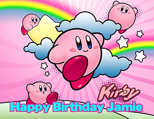 Kirby Edible Image Photo Cake Frosting Icing Topper Sheet Personalized Custom Customized Birthday Party - 1/4 Sheet - 79063 (Kirby Cake)