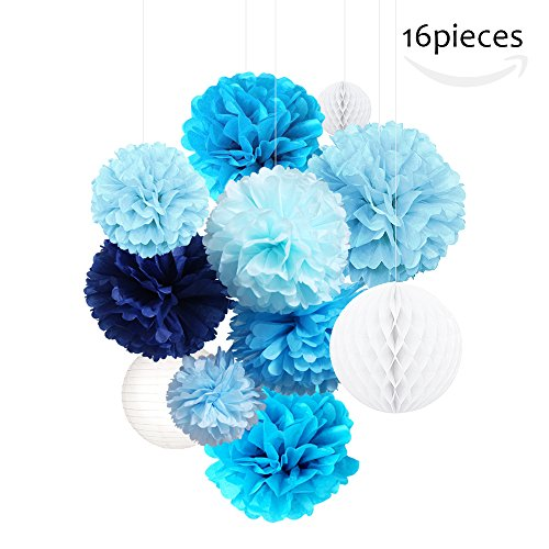 Tissue Paper Pom Poms Kits Flowers,Honeycomb Balls,Paper Lanterns,Mixed Color DIY Hanging for Xmas Party,Wedding Decorations,Baby Showers or any Other Celebrations (BLUE) (Diy Halloween Lanterns)