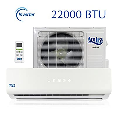 22000 BTU Mini Split Air Conditioner - 1.8-2 Ton Ductless System with Inverter and Heat Pump - Complete Set with 15 Feet kit - 208-230 VAC - by Amira