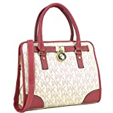 Medium Satchel Purse Designer Handbag Top Handle Shoulder Bag Padlock Red/White