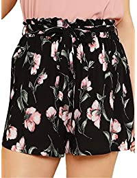 Women's Plus Size Shorts Summer Causal Floral Elastic Waist Shorts