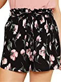 Floerns Women's Casual Plus Size Floral Shorts Elastic Waist Loose Shorts Black 1X