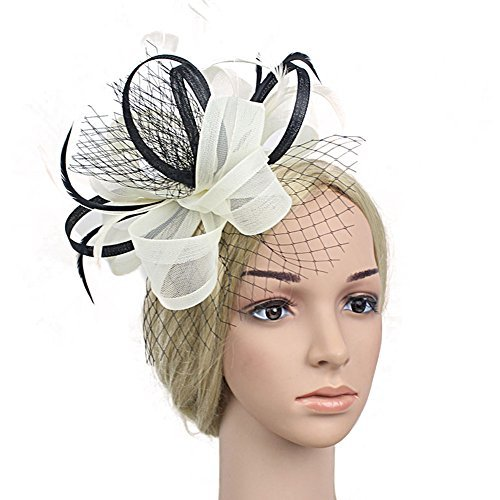 BAOBAO Women Bow Feather Net Veil Fascinator Hat Cocktail Wedding ... 40e184f3d6e