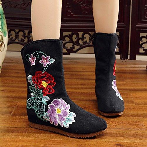 GTVERNH-Old Beijing zapatos y botas de estilo folk invierno Cachemira en el tubo en la ladera con bordado de algodón botas botas botas cremallera. Black