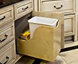 Single 35Qt. Wood Bottom Mount Trash White Can Pullout Waste Container System with Soft-Close