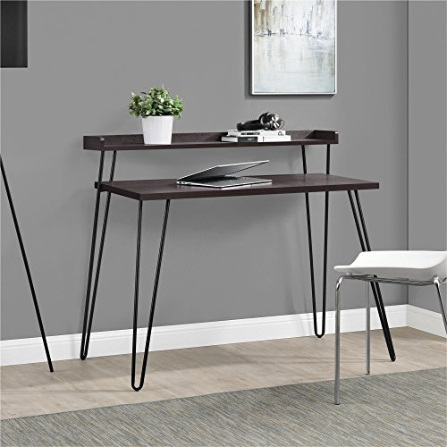 Ameriwood Home Haven Retro Desk with Riser, - Espresso Finish Desk Laptop