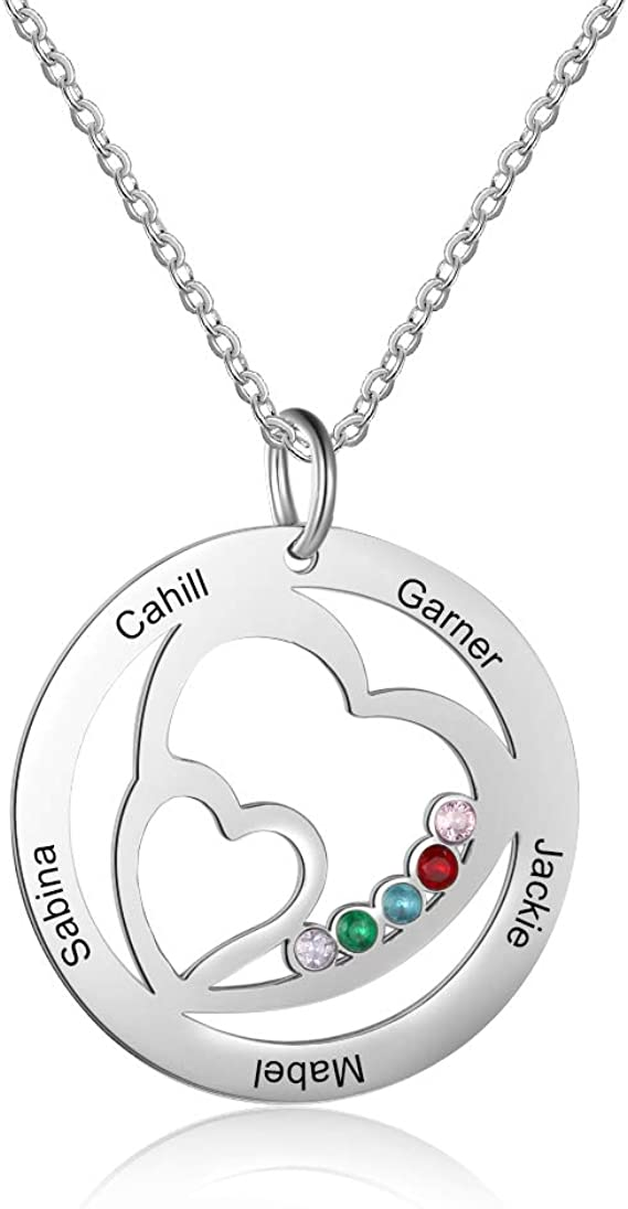 Personalized Family Name Necklace for Mother Women with 1//2//3//4 Simulated Birthstones Pendant Relationship Boy and Girls Shaped Design Name Necklace for Mom Girls