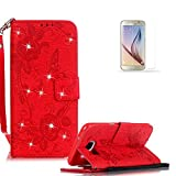 Samsung Galaxy S7 Edge Case Cover [with Free Screen Protector], Funyye Classic Premium Folio 3D Patterns PU Leather Wallet Magnetic Flip Cover with [Wrist Strap] and [Credit Card Holder Slots] Glitter Sparkle Rhinestone Butterfly Flowers Pattern Design Stand Up Protective Holster Folder Case Cover for Samsung Galaxy S7 Edge - Red