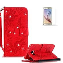 Galaxy S7 Case Cover [with Free Screen Protector], Funyye Classic Premium Folio 3D Patterns PU Leather Wallet Magnetic Flip Cover with [Wrist Strap] and [Credit Card Holder Slots] Glitter Sparkle Rhinestone Butterfly Flowers Pattern Design Stand Up Protective Holster Folder Case Cover for Samsung Galaxy S7 - Red