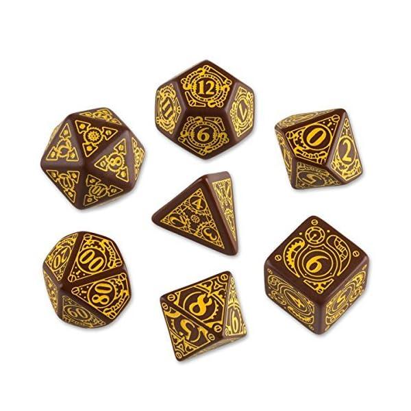 Q-Workshop Polyhedral 7-Die Set: Carved Steampunk Dice Set (Brown & Yellow) by Q-Workshop 3