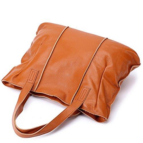 Capacidad 1 Cuero Bloqueo Genuina a trabajo Ideal Gran Genuino Mano RFID de para viaje Sucastle Mujer y Hecho hombro 2 bolsos gwIRwz01