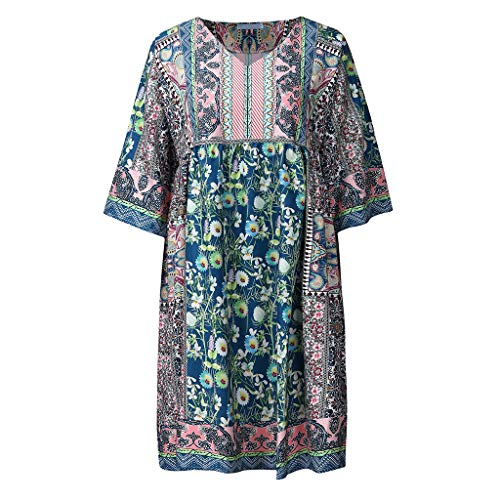 Exteren Women Fashion Bohemian Party Print V Neck Plus Size Loose Casual Mini Maxi Dress Blue