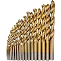19pcs HSS Titanium Coated Twist Drill Bit Set 1-10mm Straight Shank Twist Drill Bit