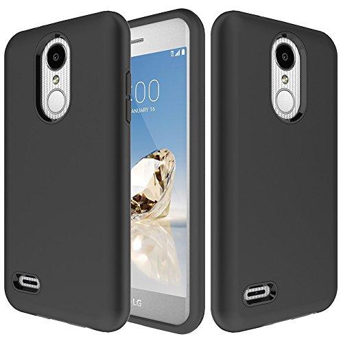 LG Zone 4 Case, LG Phoenix 4, LG Aristo 3/2/Plus, LG Tribute Empire/Dynasty SP200,LG Fortune 2,LG Risio 3,LG K8 (2018) Case,Yiakeng Dual Layer Shockproof Wallet Hard Phone Cases Full Cover (Black) (Optimus Lg Otterbox)