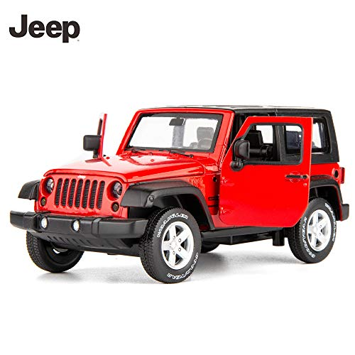 12 Red Diecast Car - TGRCM-CZ Diecast Model Cars Toy Cars, Jeep Wrangler 1:32 Scale Alloy Pull Back Toy Car with Sound and Light Toy for Girls and Boys Kids Toys (Red)