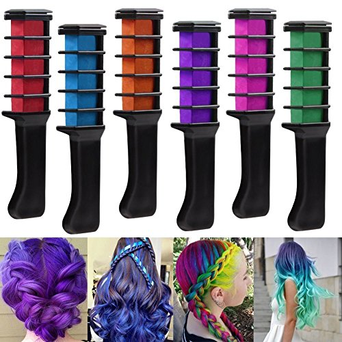 Mini Temporary Hair Chalk Set - 6 Colors Washable Hair Chalk With Comb - Great For Dress Up, Performance Costumes And Temporary Color for Girls (6PC Hair Chalk Set) -