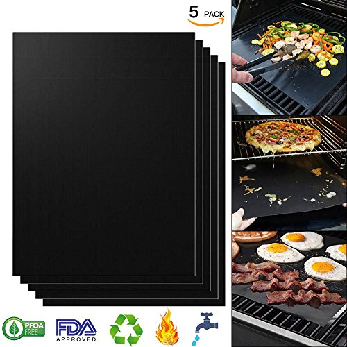 Grill Mats Nonstick Grill Mats for Gas Grills, Essential Grilling Accessories for Home Cooks and Grillers PFOA Free, Reusable with - Set of 5 (Black)