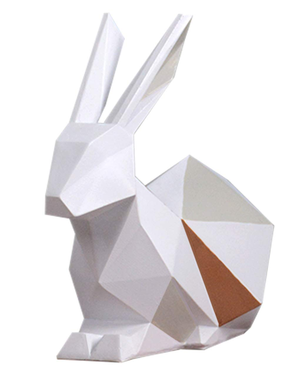 HauCoze Geometric Rabbit Sculpture Statue Decor,Tabletop Figurine,Home Decoration,Souvenirs Gifts for Kids Present,Hand-painted Resin 15cmH