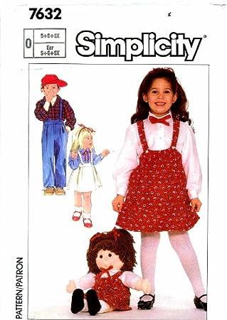 b923c541b Simplicity 7632 Niñas Pantalones Falda Camisa Cabbage Patch ...