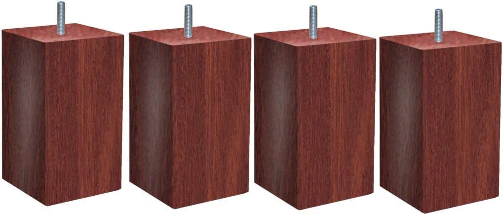MARGOT 3700527832821 Douceur Scandinave Pacha Lot de 4 Pieds de lit Bois Noir Hauteur 17 cm