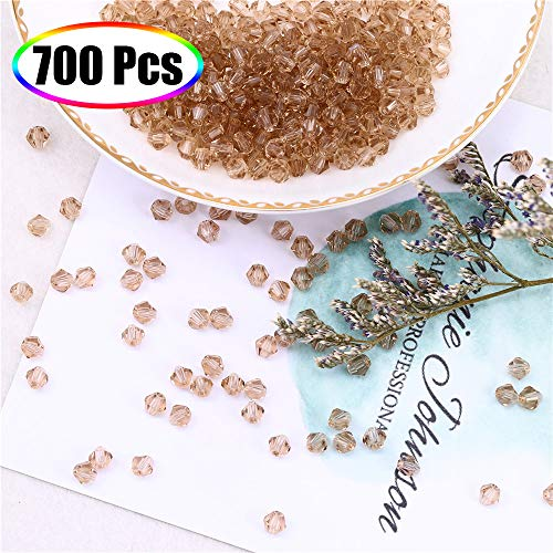 (Crystal Beads for Jewelry Making 4mm, XINFANGXIU 700Pcs Clear Glass Bicone Faceted Beads Light Topaz Wholesale for DIY Craft Bracelet Necklace Earring Jewelry Making )