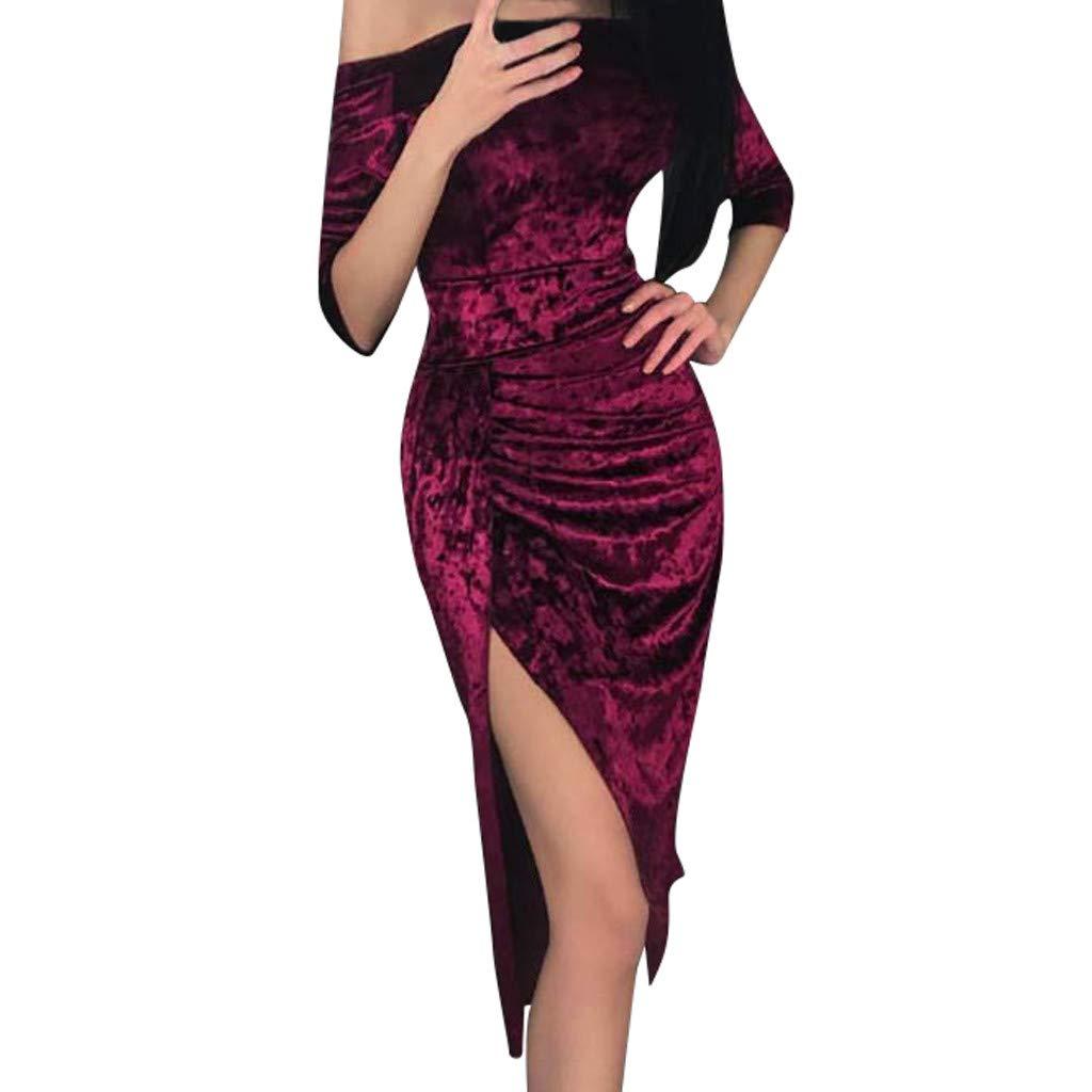 LisYOU Velvet Dress for Women V-Neck Long Sleeve Bodycon Slim Cocktail Party Mini Dress (M, E-Red)