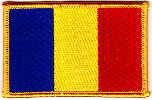 (Romania Flag w/Gold Border Iron On Patch Flag of Romania DIY Decor Shirt)