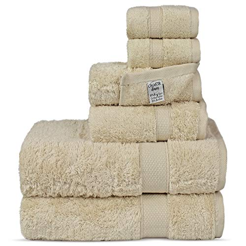 (Chakir Turkish Linens Luxury Ultra Soft Bamboo 6-Piece Towel Set - Soft, Absorbent and Eco-Friendly (Beige))