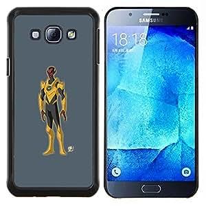 "Be-Star Único Patrón Plástico Duro Fundas Cover Cubre Hard Case Cover Para Samsung Galaxy A8 / SM-A800 ( Superhero Costume Amarillo Gris hombre de la historieta"" )"