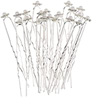 10 Pieces Sparkle Rhinestone Faux Pearl Cute Flower U Shaped Hair Pins Fashion Elegant Jewelry