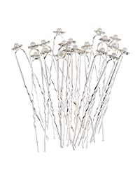 MonkeyJack 10 Pieces Sparkle Rhinestone Faux Pearl Cute Flower U Shaped Hair Pins Fashion Elegant Jewelry
