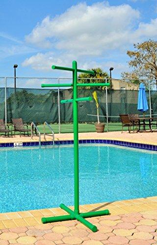 Pool & Spa Towel Rack Green Premium Extra Tall Towel Tree Outdoor PVC (Spa Outdoor Rack Towel)