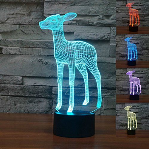 SUPERNIUDB 3D Cute Deer Night Light LED USB 7 Color Change LED Table Lamp Xmas Toy Gift