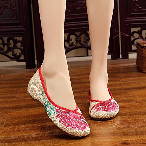 XYJHER donna ricamo estate sandali comodi casual scarpe ricamato stile cinese ricamo ballerine balletto Crafts scarpa da donna, Beige, US5.5/EU37/UK4.5/CN36 Beige