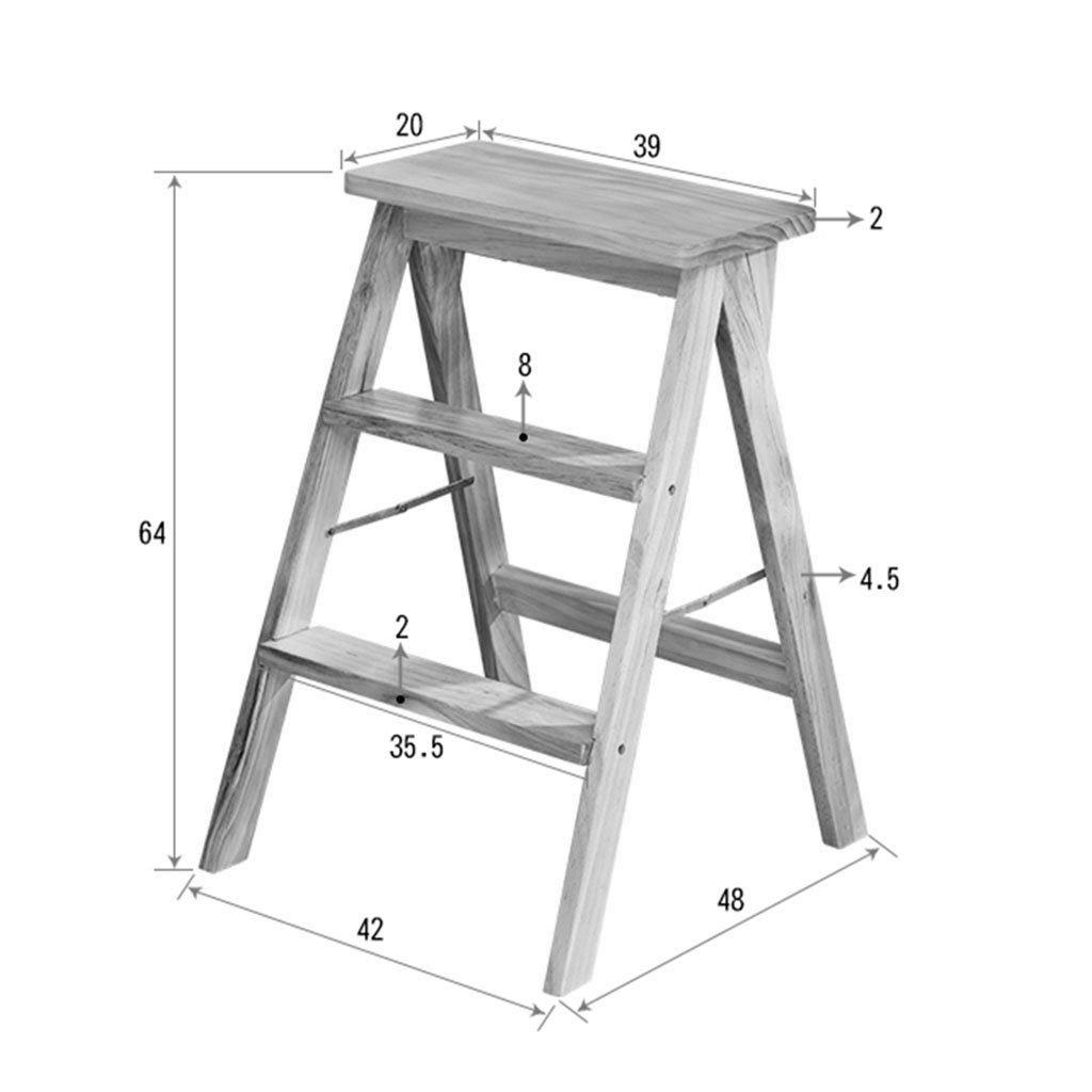 Amazon.com: Escalera de madera plegable, escalera de madera ...