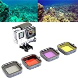 Saver 4Pcs Red Yellow Grey Purple Color Diving UV Filter Lens Cover For GoPro Hero 4 3 Plus