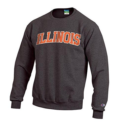 Champion NCAA Illinois Illini Men's Eco Powerblend Crew Neck Sweat Shirt, Large, Granite Heather