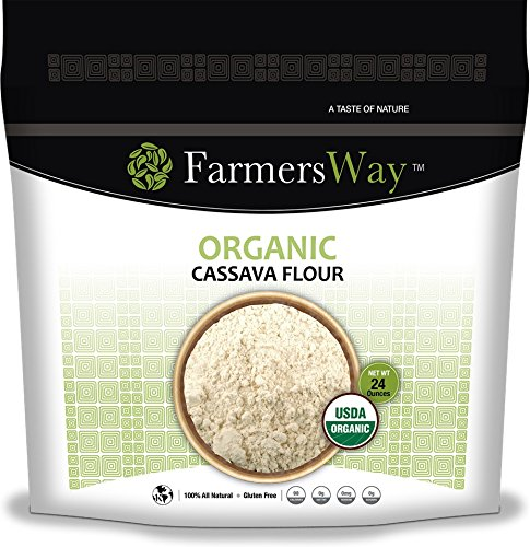 Farmers Way Organic Cassava Flour, is a grain free, gluten free, nut free, great tasting, alternative to wheat flours, 24 ounce bag