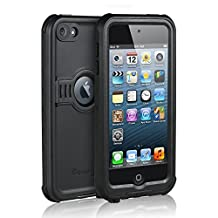 iPod 5 iPod 6 Waterproof Case, Waterproof, Dust Proof, Snow Proof, Shock Proof Case Cover with Kickstand for Apple iPod Touch 5th/6th Generation (Black)