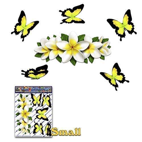 Flor blanca Frangipani PLUMERIA Centro pequeñ o + amarillo Mariposa Animal Etiqueta autoadhesiva - ST00046WT_SML - JAS Stickers