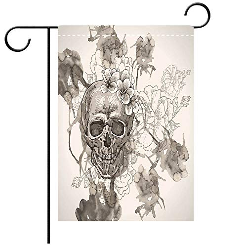BEICICI Custom Personalized Garden Flag Outdoor Flag Day of The Dead Decor Painting Skull Flowers Dia de Los Muertos Festive Decor Print Dimgrey and White Best for Party Yard and Home Outdoor Decor