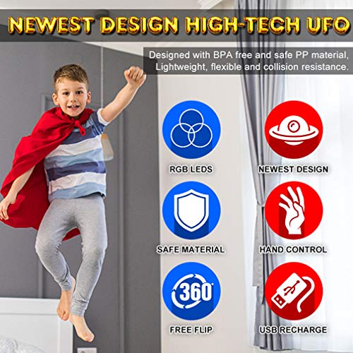 LED Hand Drone, Hand Operated Drones for Kids with 5 Sensors, Hands Free Mini Drones Small UFO, Hand Controlled Flying…