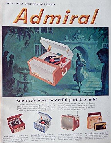 Admiral hi-fi record player, Vintage Print Ad. 50's Color Illustration (portable tv) Original Rare Esquire Magazine Art