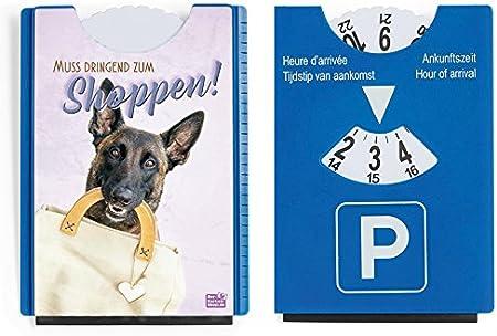 Fun Spaß Motiv Parkscheibe Mit Eiskratzer Und Gummilippe Shopping Hund Muss Dringend Zum Shoppen Auto