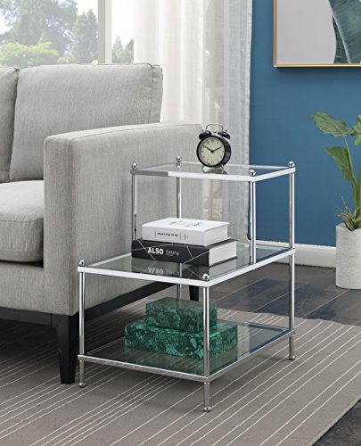 Convenience Concepts 134033 Royal Crest 3-Tier Step End Table, Clear Glass/Chrome Frame (Tier Glass Table)