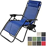 Sunnydaze Navy Blue Oversized Zero Gravity Lounge Chair with Pillow and Cup Holder